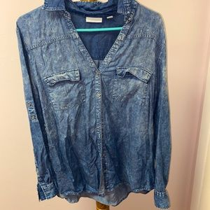 new york and company blue button down top